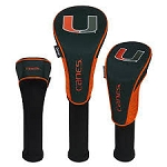 Miami Hurricanes Nylon Graphite Golf Set of 3 Head Covers