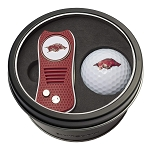 Arkansas NCAA Golf Gift Set Switchblade Divot Tool with Double-Sided Magnetic Ball Marker & Golf Ball